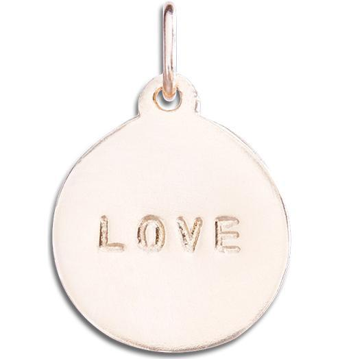"""Love"" Disk Charm Jewelry Helen Ficalora 14k Pink Gold For Necklaces And Bracelets"