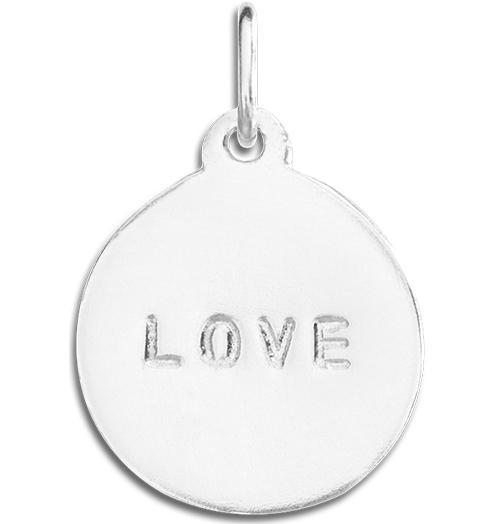 """Love"" Disk Charm Jewelry Helen Ficalora Sterling Silver For Necklaces And Bracelets"