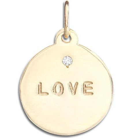 """Love"" Disk Charm With Diamond Jewelry Helen Ficalora 14k Yellow Gold For Necklaces And Bracelets"