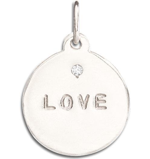 """Love"" Disk Charm With Diamond Jewelry Helen Ficalora 14k White Gold"