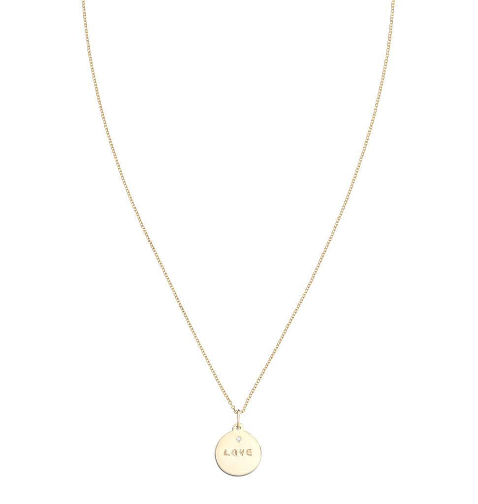 """Love"" Disk Charm With Diamond Jewelry Helen Ficalora"