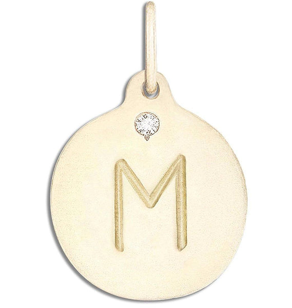 """M"" Alphabet Charm With Diamond - 14k Yellow Gold - Jewelry - Helen Ficalora - 1"