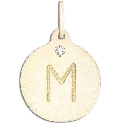 """M"" Alphabet Charm With Diamond Jewelry Helen Ficalora 14k Yellow Gold"
