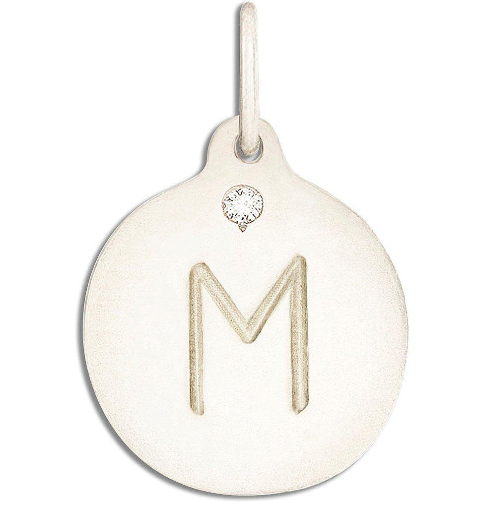 """M"" Alphabet Charm With Diamond - 14k White Gold - Jewelry - Helen Ficalora - 2"