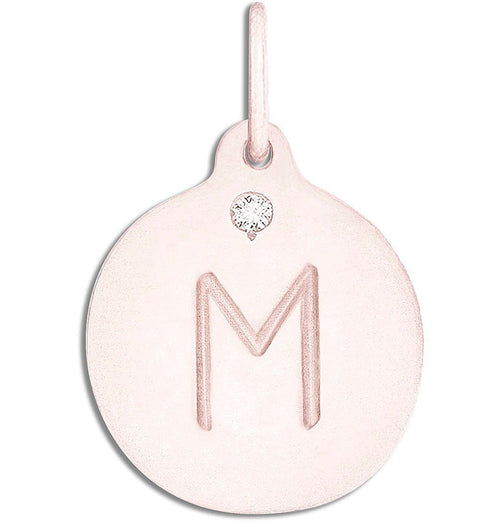 """M"" Alphabet Charm With Diamond Jewelry Helen Ficalora 14k Pink Gold For Necklaces And Bracelets"