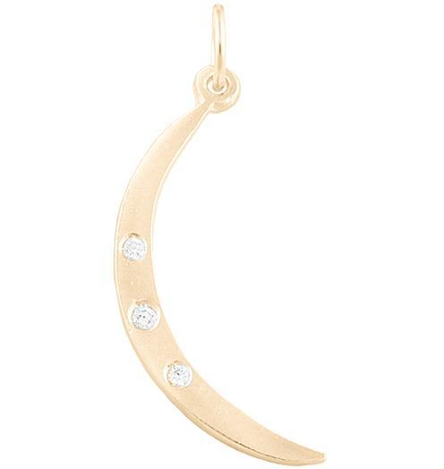 Medium Crescent Moon Charm With 3 Diamonds - 14k Yellow Gold - Jewelry - Helen Ficalora - 1