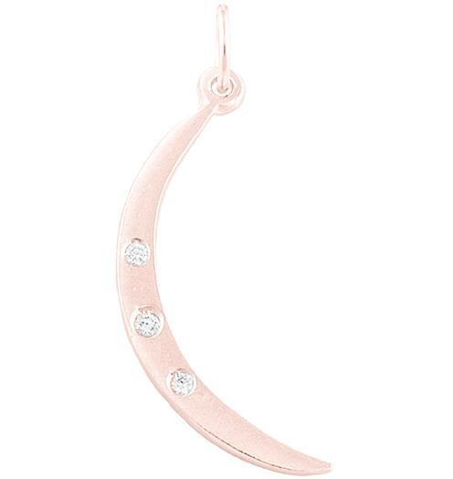 Medium Crescent Moon Charm With 3 Diamonds - 14k Pink Gold - Jewelry - Helen Ficalora - 3