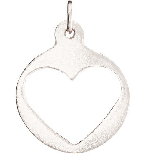 Medium Heart Cutout Charm - 14k White Gold - Jewelry - Helen Ficalora - 2