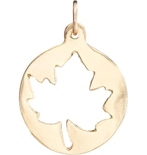 Medium Maple Leaf Cutout Charm - 14k Yellow Gold - Jewelry - Helen Ficalora - 1