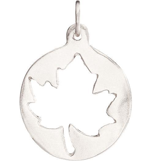 Medium Maple Leaf Cutout Charm Jewelry Helen Ficalora 14k White Gold