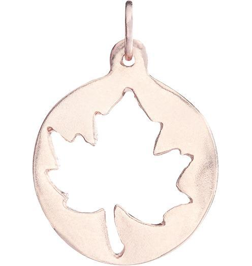 Medium Maple Leaf Cutout Charm Jewelry Helen Ficalora 14k Pink Gold