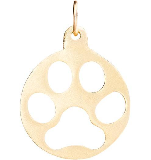 Medium Paw Print Cutout Charm - 14k Yellow Gold - Jewelry - Helen Ficalora - 1