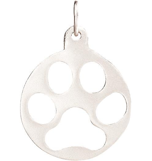 Medium Paw Print Cutout Charm - 14k White Gold - Jewelry - Helen Ficalora - 2