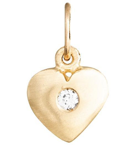 Medium Puffy Heart Charm With Diamond Jewelry Helen Ficalora 14k Yellow Gold For Necklaces And Bracelets