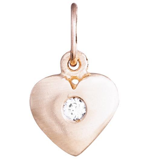Medium Puffy Heart Charm With Diamond Jewelry Helen Ficalora 14k Pink Gold For Necklaces And Bracelets
