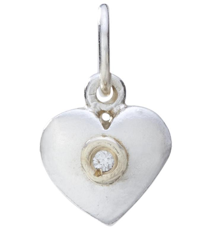 Medium Puffy Heart Charm With Diamond Jewelry Helen Ficalora Sterling Silver