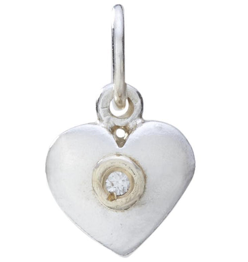 Medium Puffy Heart Charm With Diamond Jewelry Helen Ficalora Sterling Silver For Necklaces And Bracelets