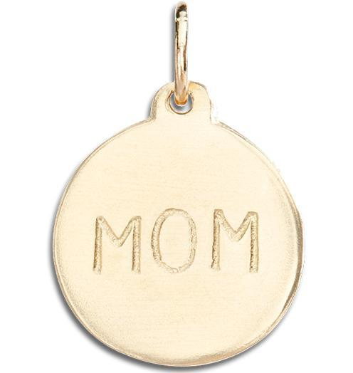 """Mom"" Disk Charm Jewelry Helen Ficalora 14k Yellow Gold"
