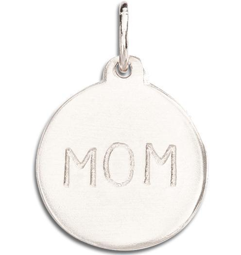 """Mom"" Disk Charm Jewelry Helen Ficalora 14k White Gold"