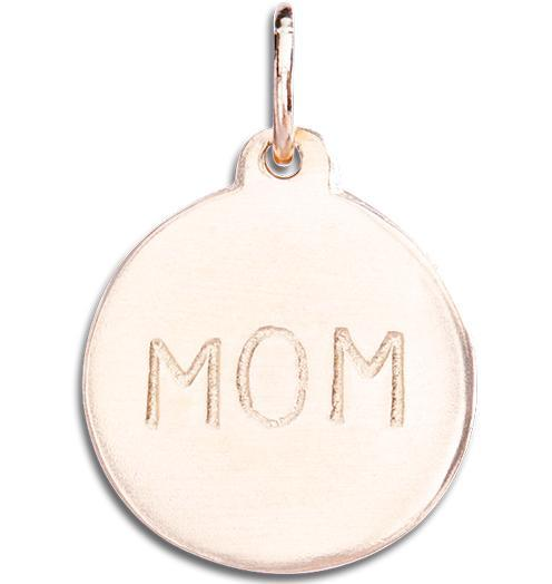 """Mom"" Disk Charm Jewelry Helen Ficalora 14k Pink Gold"