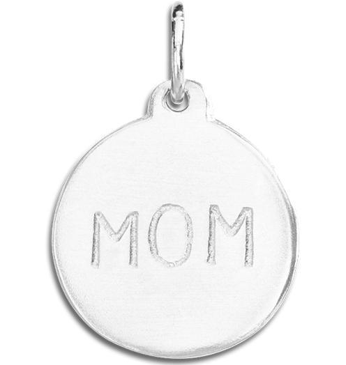 """Mom"" Disk Charm - Sterling Silver - Jewelry - Helen Ficalora - 4"