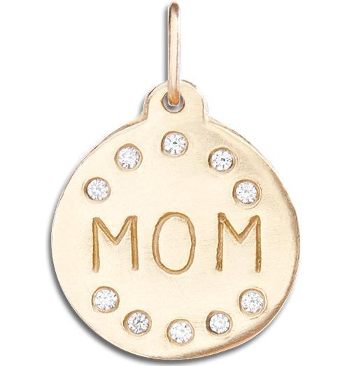 """Mom"" Disk Charm Pave Diamonds - 14k Yellow Gold - Jewelry - Helen Ficalora - 1"