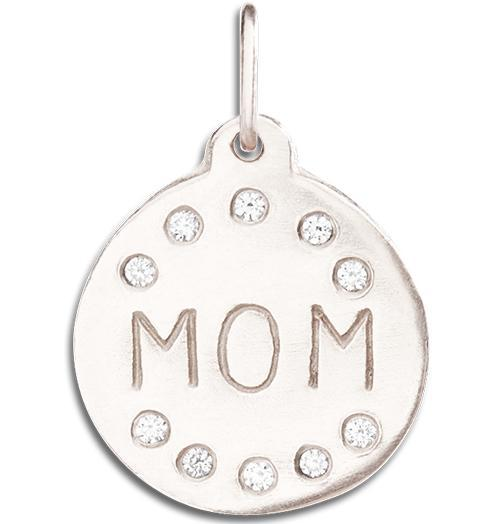 """Mom"" Disk Charm Pave Diamonds - 14k White Gold - Jewelry - Helen Ficalora - 2"
