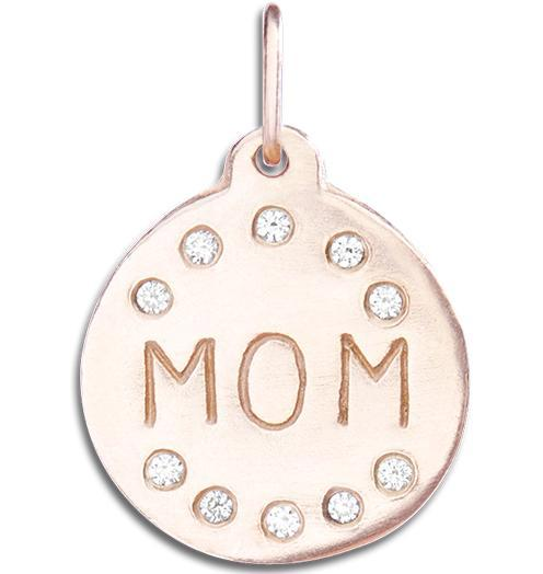 """Mom"" Disk Charm Pave Diamonds - 14k Pink Gold - Jewelry - Helen Ficalora - 3"