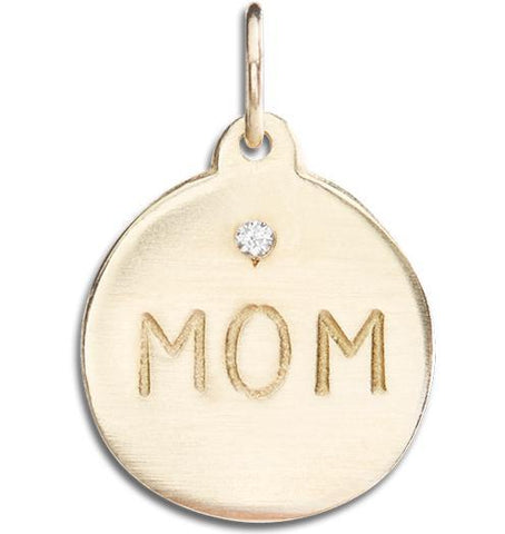 """Mom"" Disk Charm With Diamond Jewelry Helen Ficalora 14k Yellow Gold For Necklaces And Bracelets"