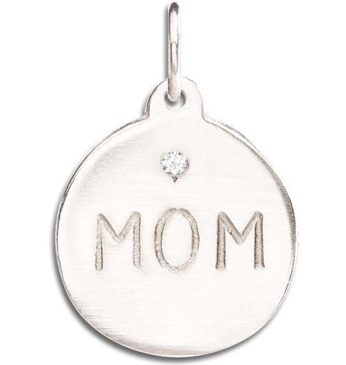 """Mom"" Disk Charm With Diamond - 14k White Gold - Jewelry - Helen Ficalora - 2"