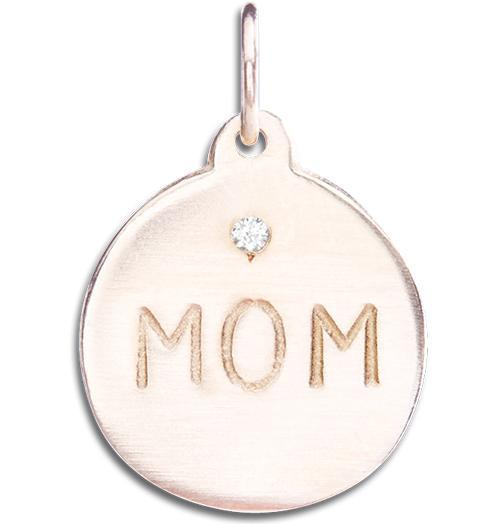 """Mom"" Disk Charm With Diamond Jewelry Helen Ficalora 14k Pink Gold"