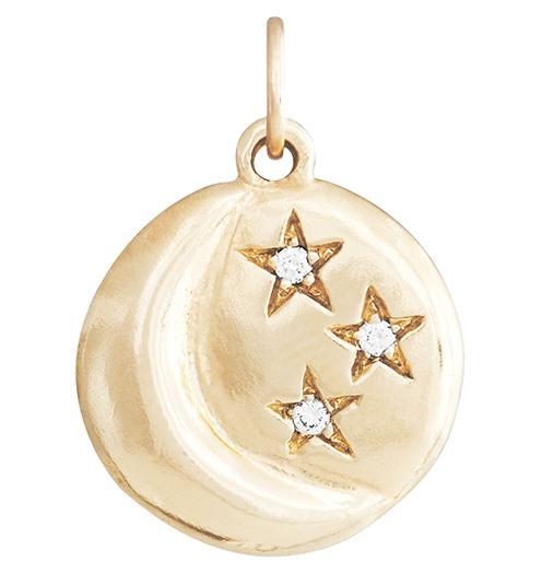 Moon And 3 Stars Charm With 3 Diamonds - 14k Yellow Gold - Jewelry - Helen Ficalora - 1