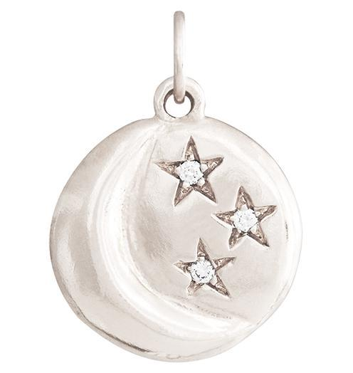 Moon And 3 Stars Charm With 3 Diamonds - 14k White Gold - Jewelry - Helen Ficalora - 2