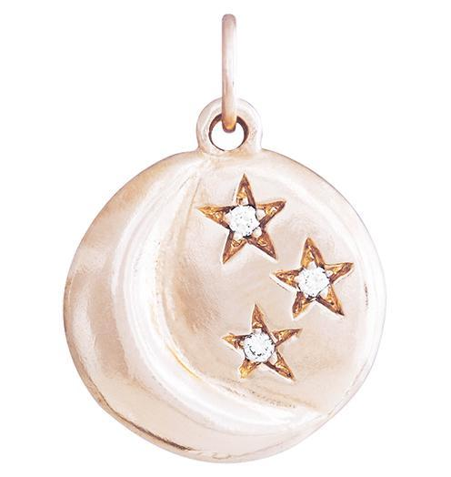 Moon And 3 Stars Charm With 3 Diamonds - 14k Pink Gold - Jewelry - Helen Ficalora - 3