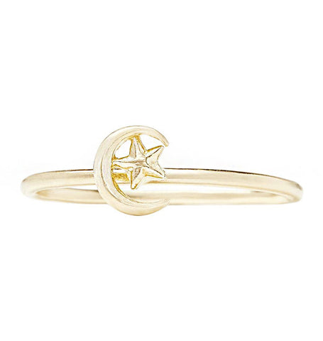 Moon And Star Stacking Ring Jewelry Helen Ficalora 14k Yellow Gold 6