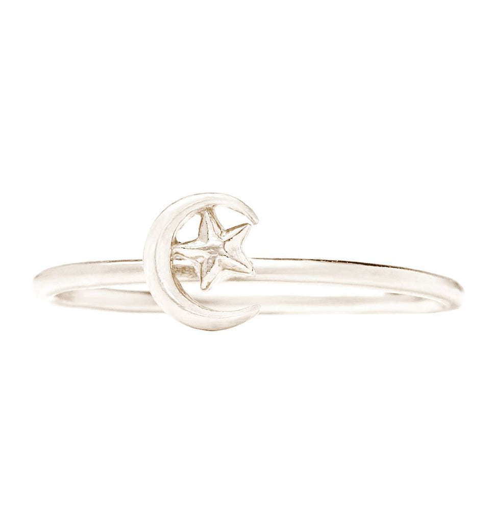 Moon And Star Stacking Ring Jewelry Helen Ficalora 14k White Gold 6
