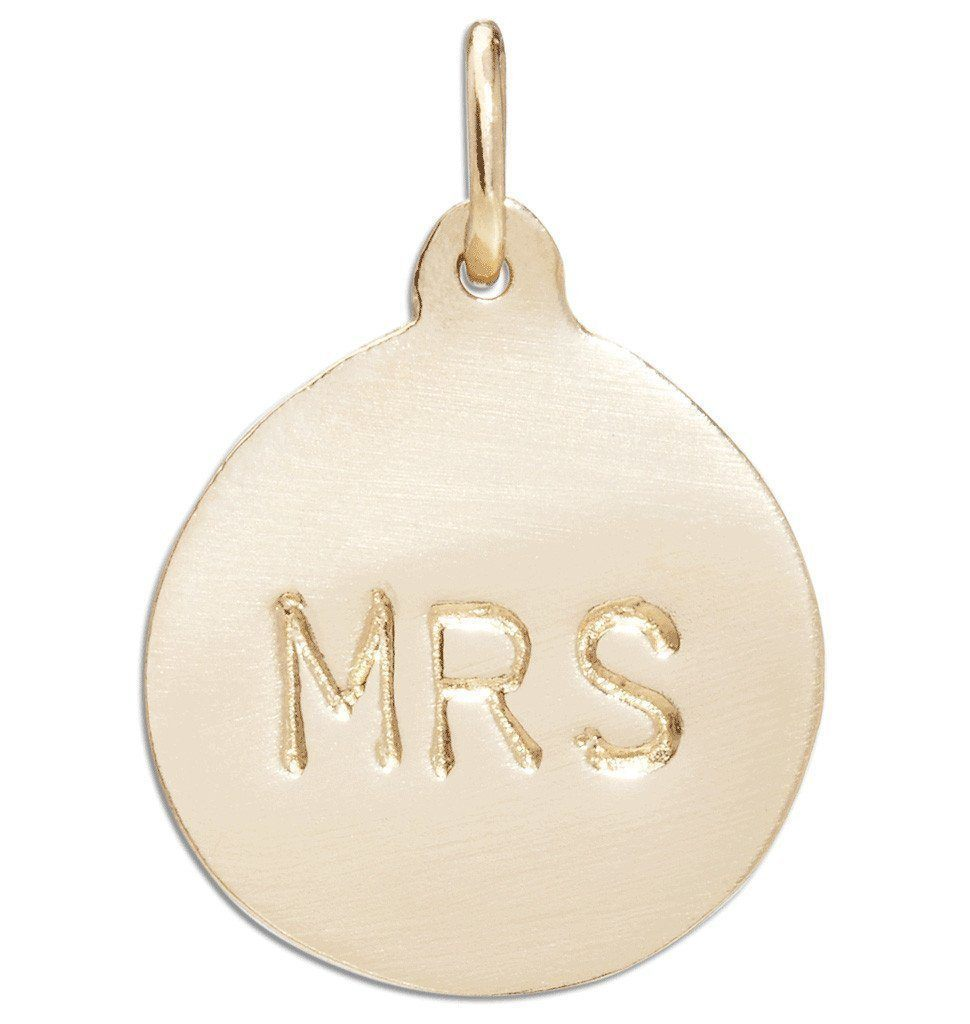 """Mrs"" Disk Charm Jewelry Helen Ficalora 14k Yellow Gold"