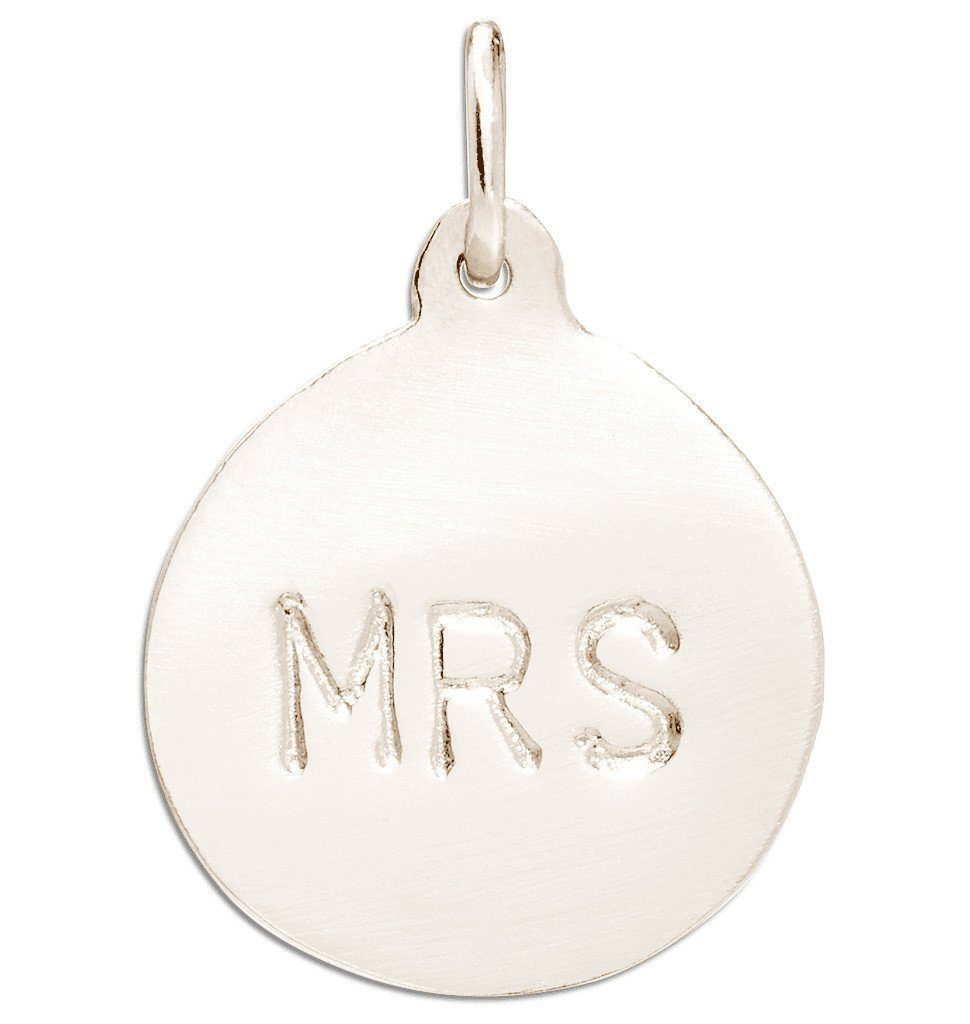 """Mrs"" Disk Charm Jewelry Helen Ficalora 14k White Gold"