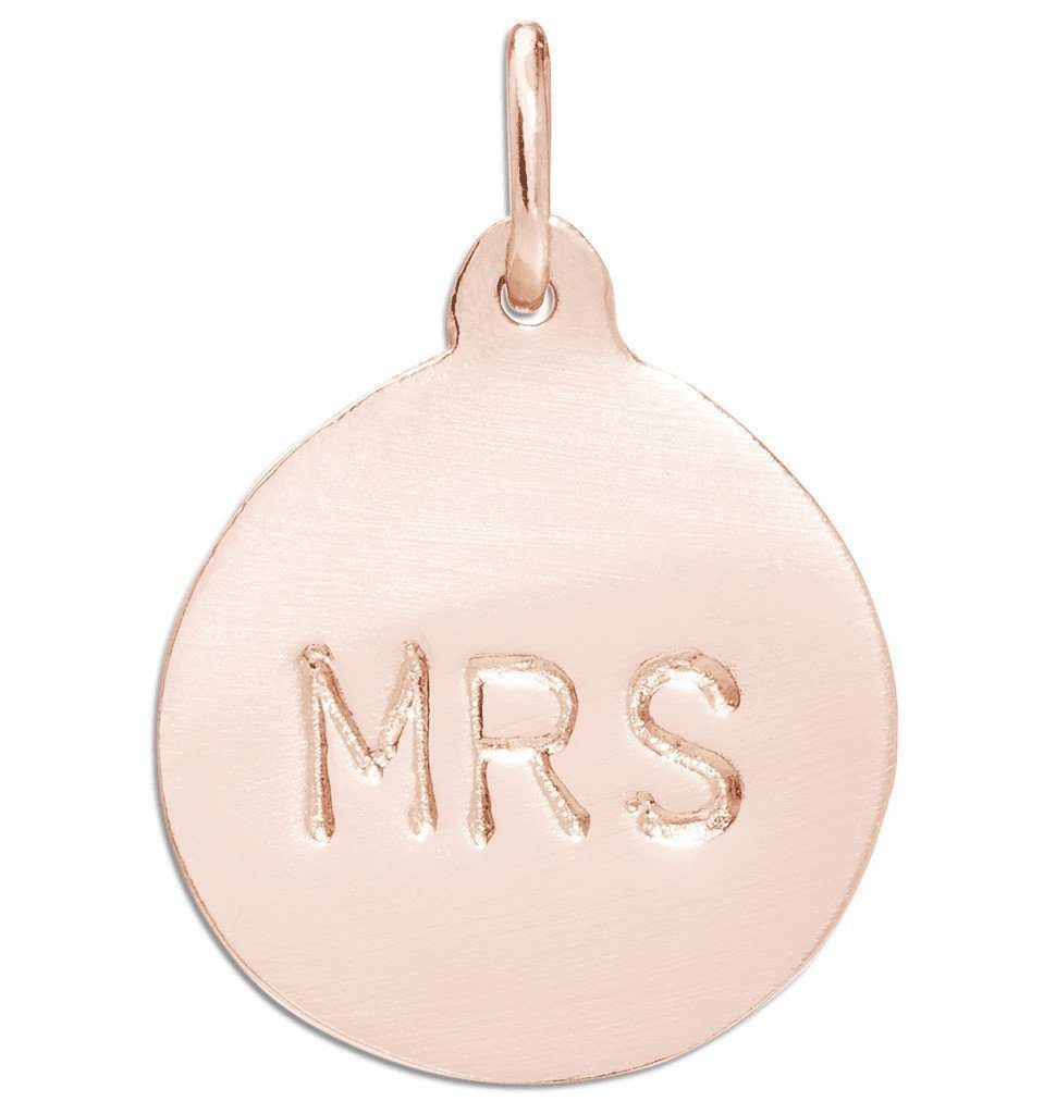 """Mrs"" Disk Charm Jewelry Helen Ficalora 14k Pink Gold"