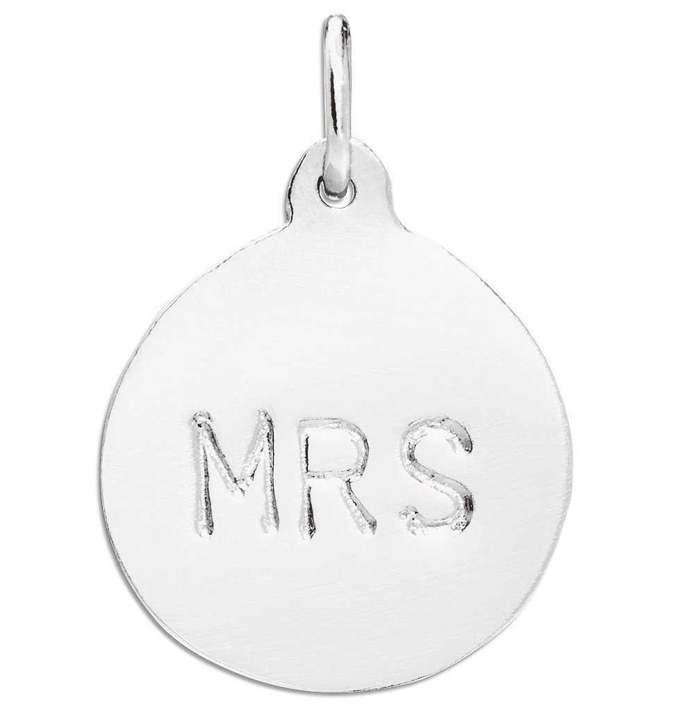 """Mrs"" Disk Charm Jewelry Helen Ficalora Sterling Silver"