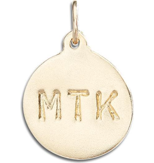 """MTK"" Disk Charm - 14k Yellow Gold - Jewelry - Helen Ficalora - 1"
