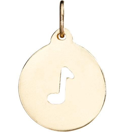 Music Note Cutout Charm - 14k Yellow Gold - Jewelry - Helen Ficalora - 1