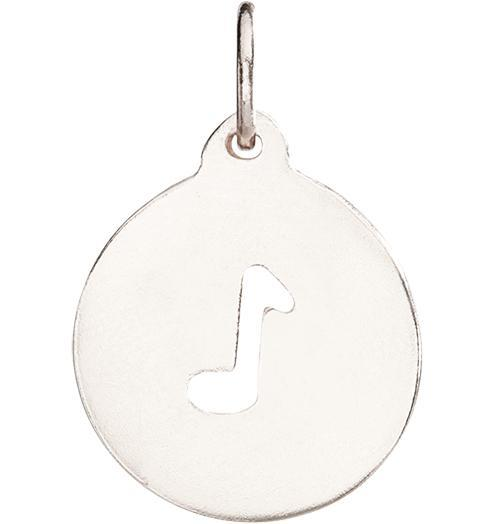 Music Note Cutout Charm - 14k White Gold - Jewelry - Helen Ficalora - 2