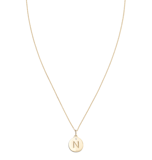 """N"" Alphabet Charm With Diamond -  - Jewelry - Helen Ficalora - 5"