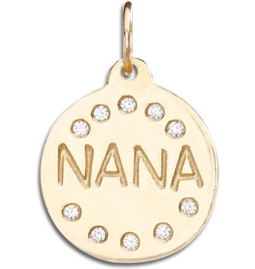 """Nana"" Disk Charm Pave Diamonds - 14k Yellow Gold - Jewelry - Helen Ficalora - 1"
