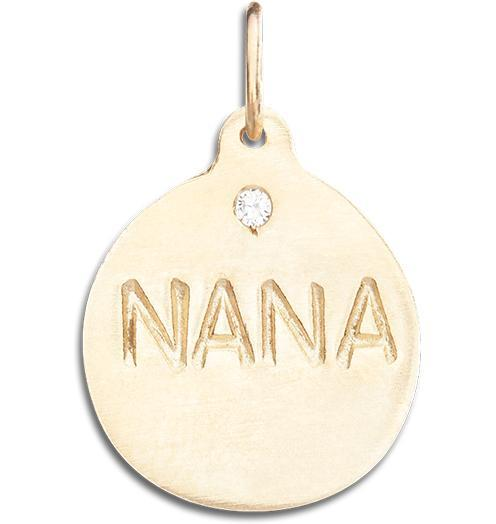 """Nana"" Disk Charm With Diamond - 14k Yellow Gold - Jewelry - Helen Ficalora - 1"