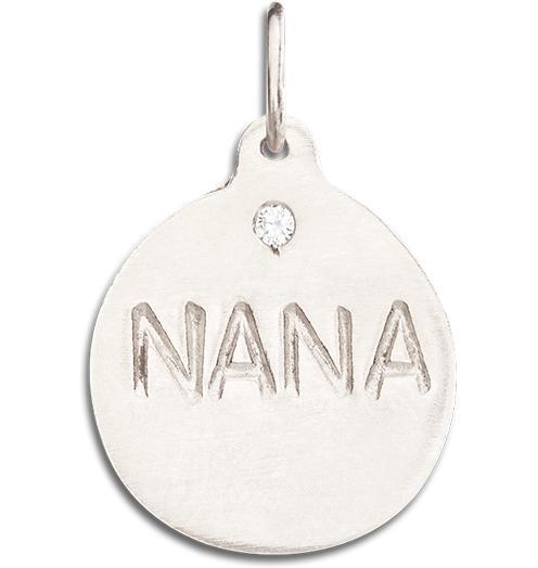 """Nana"" Disk Charm With Diamond - 14k White Gold - Jewelry - Helen Ficalora - 2"