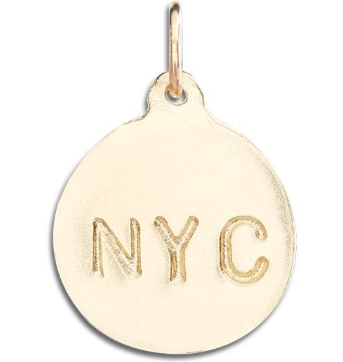 """NYC"" Disk Charm - 14k Yellow Gold - Jewelry - Helen Ficalora - 1"