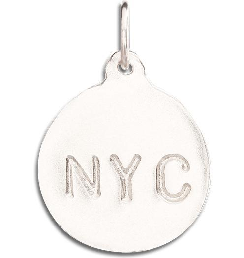 """NYC"" Disk Charm - 14k White Gold - Jewelry - Helen Ficalora - 2"