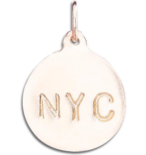 """NYC"" Disk Charm - 14k Pink Gold - Jewelry - Helen Ficalora - 3"